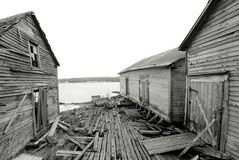B&W Fishing Shacks Royalty Free Stock Photography