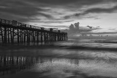 B&W of Flagler Beach pier. stock photography