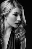 B and W Glamour portrait of blond woman Stock Images