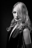B and W Glamour portrait of blond woman Stock Photography