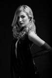 B and W Glamour portrait of blond woman Royalty Free Stock Photos