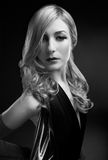 B and W Glamour portrait of blond woman Royalty Free Stock Photography