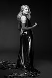 B and W Glamour portrait of blond woman Royalty Free Stock Image
