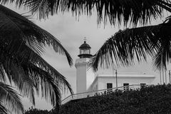 B&W Historic Tropical Lighthouse Royalty Free Stock Photography