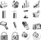 B&w icon set. Stock Image
