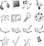 B&w icon set. Stock Images