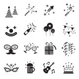 B&W Icons Set : Party Objects Stock Image
