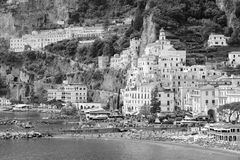 B&W image of Amalfi, Italy, Waterfront buildings, beach and port stock photo