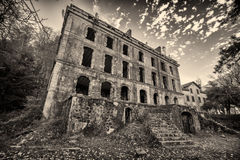 B&W image of derelict hotel at Vizzavona in Corsica Stock Images