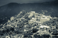 B&W image of snow on Speloncato in Corsica Royalty Free Stock Photos