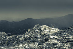 B&W image of snow on Speloncato in Corsica Royalty Free Stock Photography