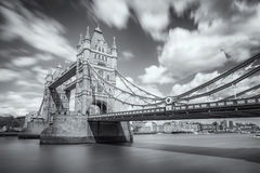 B&W image of Tower Bridge and river Thames in London Royalty Free Stock Photos