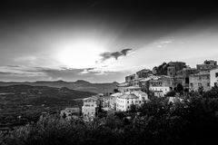 B & W image of village of Belgodere in Corsica Stock Photography