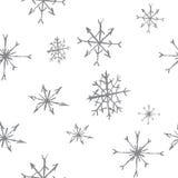 B&w inconsútil del modelo de los copos de nieve Fotos de archivo libres de regalías
