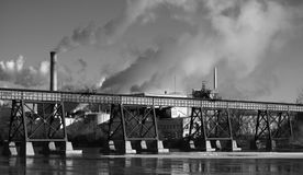 B/W Industry on the River Royalty Free Stock Photo