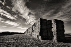 B&W of large hay bale stack. Stock Image