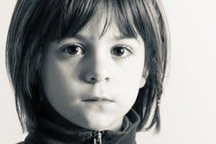 B&W little girl portrait Stock Image