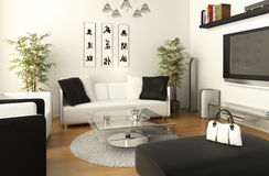 B&W living room vector illustration