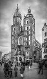 B&W Mariacki kościół w Krakowskim, Polska Fotografia Royalty Free