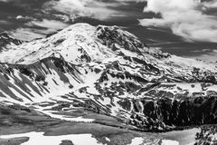 B&W North Face of Mt. Rainier Stock Photography