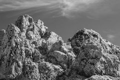 B/W Outcropping of Large Boulders Stock Photos