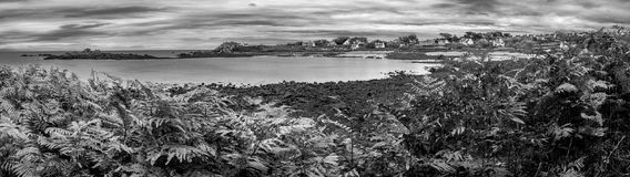 Black and white panorama in Brittany. B&W panorama of the beach in Brittany, France Royalty Free Stock Images