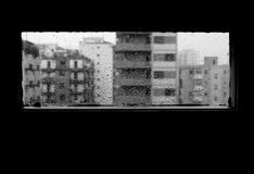 B&w panorama from the window while is raining, sad mood stock images