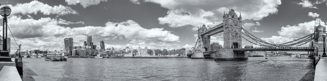B&W Panoramic view of Tower Bridge and Tower of London Royalty Free Stock Photo