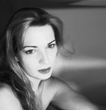 B/w portrait. Of a young woman. (soft focus Royalty Free Stock Photography