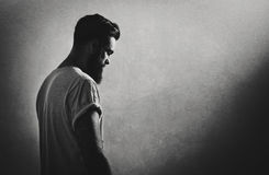 B/w portrait of a bearded tattooed guy Stock Images
