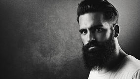 B/w portrait of a handsome bearded man Royalty Free Stock Photos