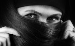 B&W Portrait of woman with beautiful hair Royalty Free Stock Photography