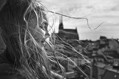 B&W portrait. Of young girl looking over town Stock Photos