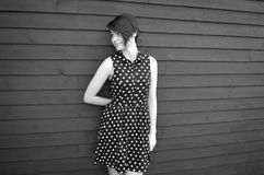 B & W  Portrait of a Young Lady Stock Image