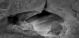 B&W Rock Window Arch Royalty Free Stock Photo