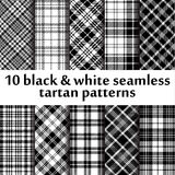 10 b&w seamless tartan patterns Royalty Free Stock Photo