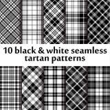 10 b&w seamless tartan patterns Royalty Free Stock Photo