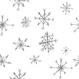 B&w sem emenda do teste padrão dos flocos de neve fotos de stock royalty free