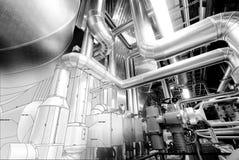 B&W skissar av industriell utrustning arkivfoto