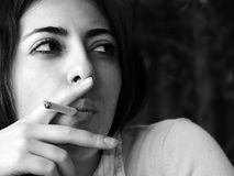 B&W Smoking Woman Stock Photography