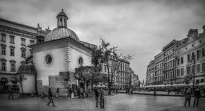 B&W St Adalbert kościół w Krakowskim, Polska Fotografia Stock