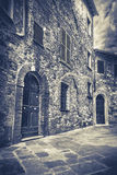 B&W straat van Montepulciano, Toscanië Royalty-vrije Stock Foto