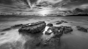The B&W Sunset at Klong Muang Beach in Krabi , Thailand. Royalty Free Stock Photos