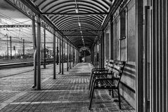 B&W Train Station Royalty Free Stock Photos