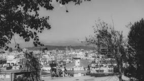 B&W view from El Poble-sec. View from El Poble-sec in Barcelona royalty free stock photography