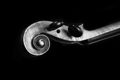 B&W Violin Scroll Stock Images