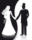 B&W wedding. Black and white wedding couple stock illustration