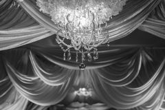 B&W wedding ceremony arches decorated Royalty Free Stock Photo