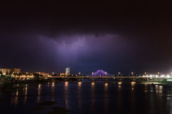 Błyskawicowa burza nad Badajoz Fotografia Royalty Free