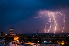 Błyskawicowa burza nad Badajoz Zdjęcia Royalty Free